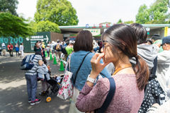 People are waiting to get into Ueno Zoo. royalty free stock images