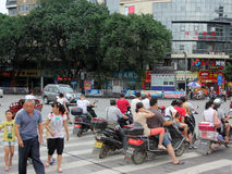 The people are waiting traffic Light in gui Lin Royalty Free Stock Photography