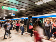 People Waiting For Train In Central Subway Station Stock Photos