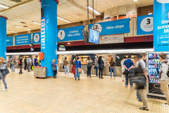 People Waiting For Train In Central Subway Station Of Downtown Bucharest Royalty Free Stock Photos