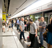 People waiting for train in Hong Kong underground Stock Image