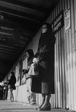 People waiting for the train at Jackson Heights, New York Royalty Free Stock Photo