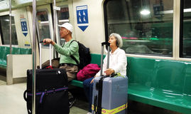 People waiting for the train at MRT station Stock Photo