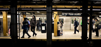 People waiting for the train in New York royalty free stock image