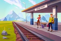 Free People Waiting Train On Railroad Platform, Railway Stock Images - 152857924