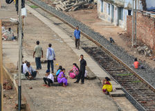 People waiting for the train at the station in Bodhgaya, India.  Stock Photo
