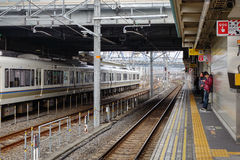 People waiting for the train at the station in Hiroshima, Japan.  Royalty Free Stock Images