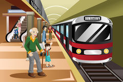People waiting in a train station. A vector illustration of people waiting in a train station Stock Photos
