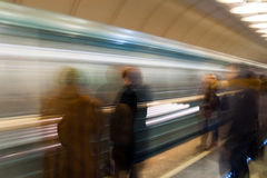 People waiting train in subway. People waiting trains in the underground (subway Stock Photo