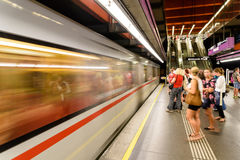 People Waiting For Train In Subway Station In Downtown Vienna Stock Photos
