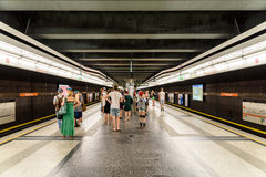People Waiting For Train In Subway Station In Downtown Vienna Royalty Free Stock Images