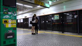 People waiting for the train at subway station in Seoul, Korea.  stock video footage