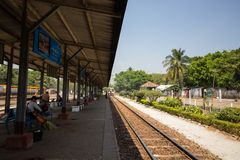 A train station in Yangon royalty free stock photography