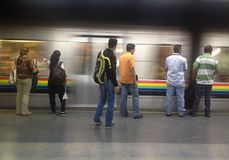 People waiting for the train. To go to work during the morning in Caracas, Venezuela Royalty Free Stock Images