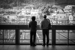 People waiting for train on the train station in Kyoto, Japan Royalty Free Stock Images