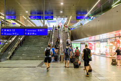 People Waking In Large Metro Station For Subway Transfer Royalty Free Stock Image