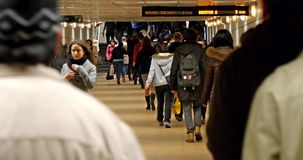 People Waking In Tunnel Underground Metro For Subway Station Transfer stock footage