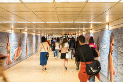 People Waking In Tunnel Underground Metro For Subway Station Transfer Stock Photography