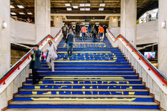 People Waking In Tunnel Underground Metro For Subway Station Transfer. BUCHAREST, ROMANIA - MAY 06, 2015: People Waking In Tunnel Underground Metro For Subway Stock Image