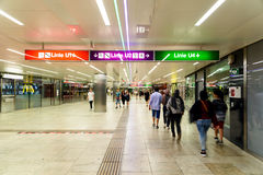 People Waking In Tunnel Underground Metro For Subway Station Transfer Royalty Free Stock Images