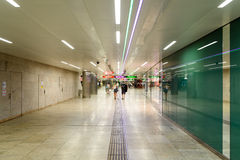 People Waking In Tunnel Underground Metro For Subway Station Transfer Royalty Free Stock Image