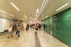 People Waking In Tunnel Underground Metro For Subway Station Stock Images