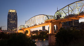 People Walk Across Cumberland River Pedestrian Bridge Nashville Stock Images