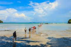 People walk across low tide sea. To get on the boat at Railay, Kraibi, Thailand Stock Photo