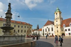 Old Town Hall on Main square in Bratislava, Slovakia. Royalty Free Stock Photos
