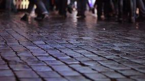 People walk along a lit street. Crowd. Girl`s Photoshoot. People walk along a lit street. Christmas garlands. Crowd. Girl. Photoshoot stock video