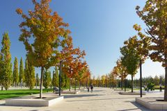 People walk along the maple alley of the new city Park Krasnodar near the stadium of the football club of the same name. Sunny aut. Krasnodar, Russia-October 19 stock photography