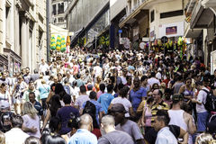 People walk along the 25 March, Sao Paulo Royalty Free Stock Photo