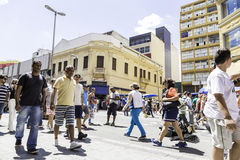 People walk along the 25 March, Sao Paulo Royalty Free Stock Image