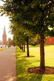 People walk along the Moscow Kremlin in summer Royalty Free Stock Image