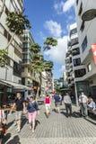 People walk along the pedestrian zone in Arrecife Royalty Free Stock Photo