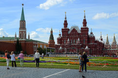 People walk along Red Square in a holiday Stock Photos