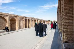 People walk along Si-o-se bridge Royalty Free Stock Photography