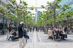 People walk along the Zeil in Frankfurt Royalty Free Stock Photo