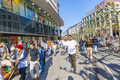 people walk along the Zeil in Midday in Frankfurt Stock Image