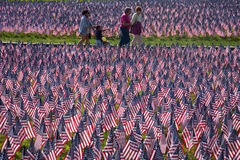 People walk through 20,000 American Flags. That, are displayed for every resident of Massachusetts who died in a war over the past 100 years, Boston Common Royalty Free Stock Photography