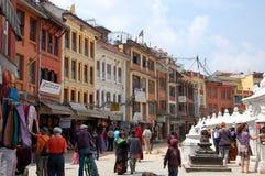 People walk  around Bodnath stupa Royalty Free Stock Image