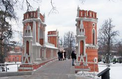 People walk on the bridge. View of Tsaritsyno park in Moscow Royalty Free Stock Image