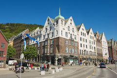 People walk at Bryggen in Bergen, Norway. Royalty Free Stock Photography