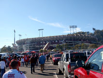 People walk through Candlestick Parking lot to the stadium Royalty Free Stock Photo