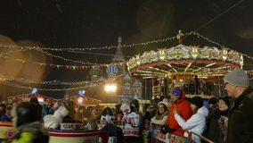 People walk on the Christmas Fair in Moscow stock video footage