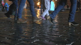 People walk in the city center. During the holidays, in the evenings. stock footage