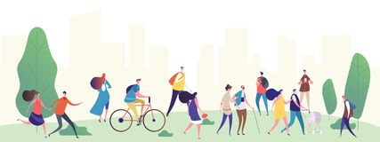 People walk in the city park vector illustration stock illustration