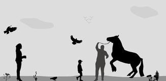 People Walk on, Connie, Birds Fly in Nature. Royalty Free Stock Photo