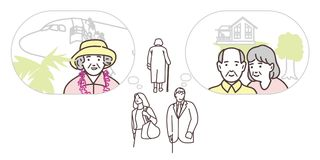 People walk down the street and represent their old age. Illustration for infographics Royalty Free Stock Photos