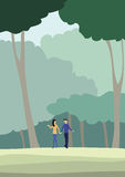 People walk in the forest. Vector illustration Stock Photo